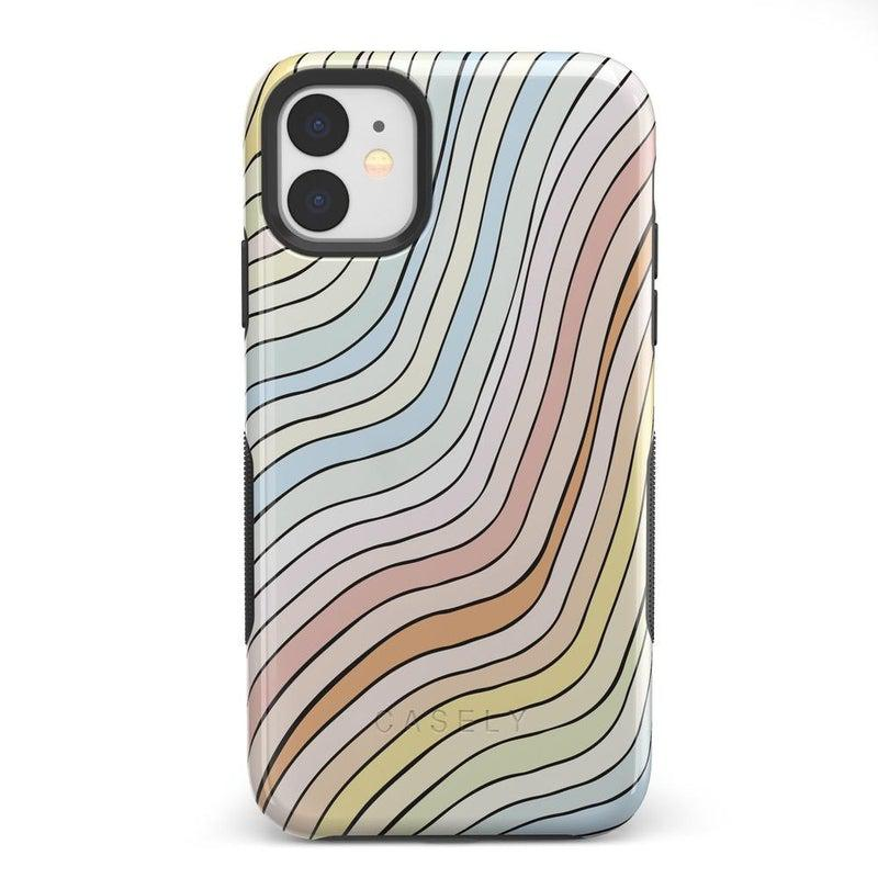 Ride The Wave | Pastel Rainbow Lined Case iPhone Case get.casely Bold iPhone 11