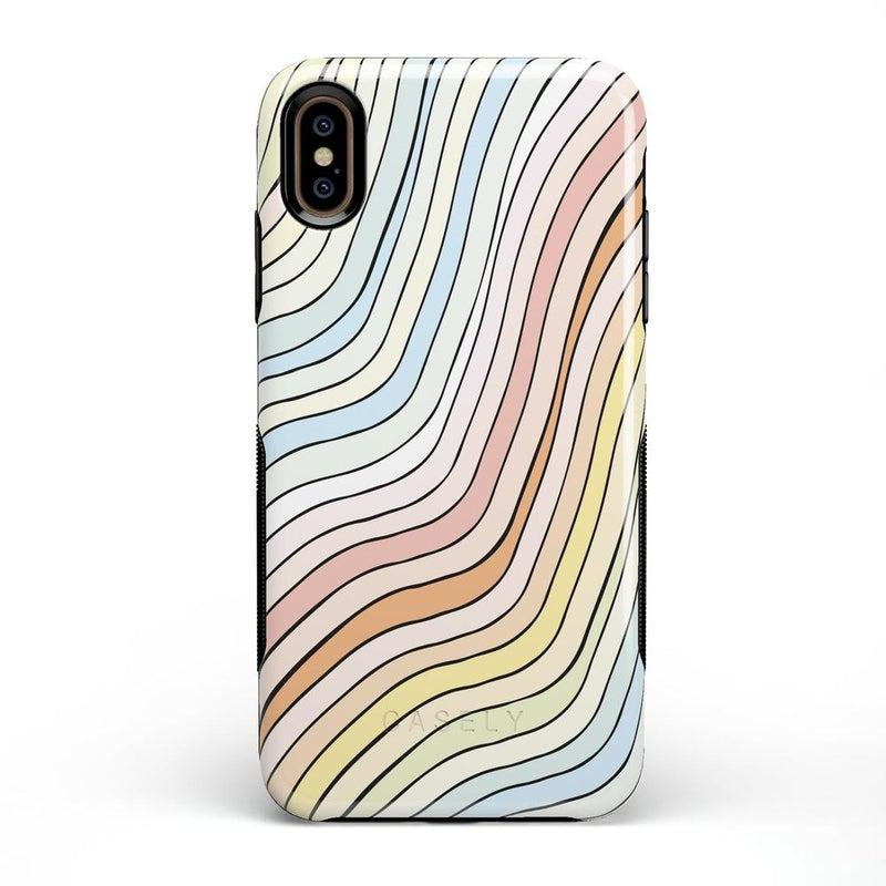 Ride The Wave | Pastel Rainbow Lined Case iPhone Case get.casely Bold iPhone XS Max