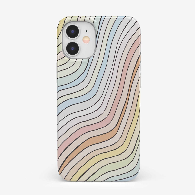 Ride The Wave | Pastel Rainbow Lined Case iPhone Case get.casely Classic iPhone 12 Mini