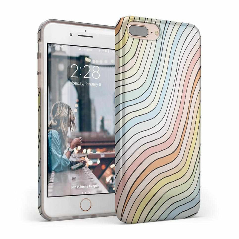 Ride The Wave | Pastel Rainbow Lined Case iPhone Case get.casely Classic iPhone 8 Plus