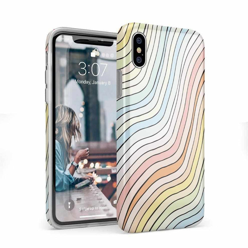 Ride The Wave | Pastel Rainbow Lined Case iPhone Case get.casely Classic iPhone X / XS