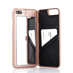 Rose Gold Mirror + Wallet Flip Case iPhone Case get.casely