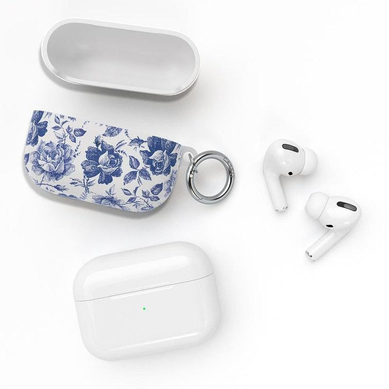 Rose to Fame | Blue & White Rose AirPods Case AirPods Case CASELY