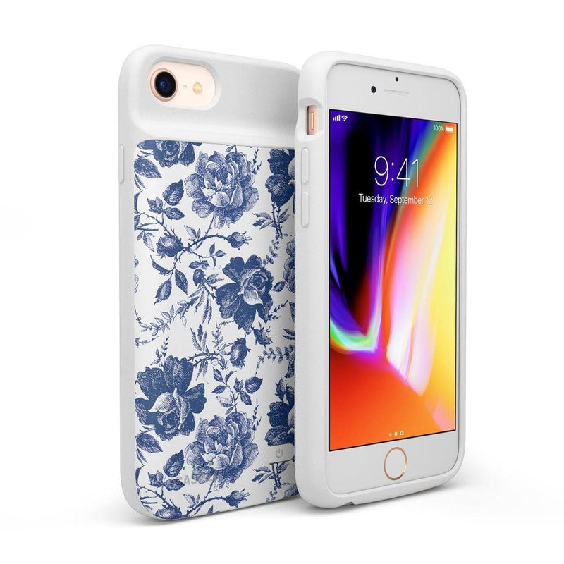 Rose to Fame | Blue & White Rose Case iPhone Case get.casely