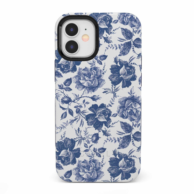 Rose to Fame | Blue & White Rose Case iPhone Case get.casely Bold iPhone 12 Mini