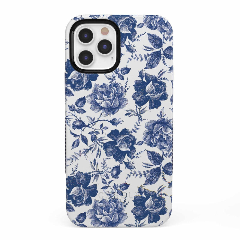 Rose to Fame | Blue & White Rose Case iPhone Case get.casely Bold iPhone 12 Pro