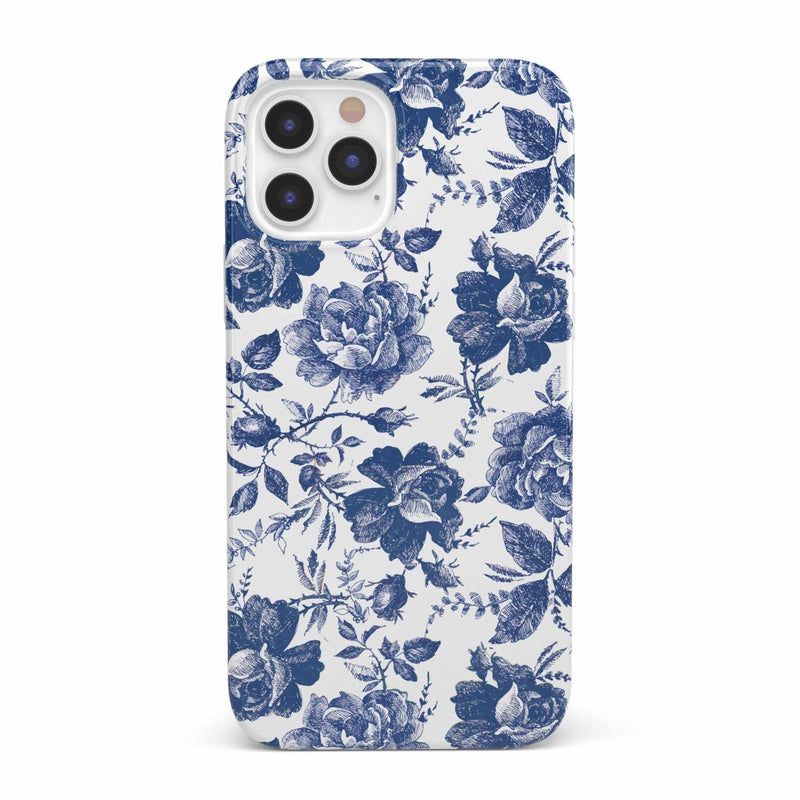 Rose to Fame | Blue & White Rose Case iPhone Case get.casely Classic iPhone 12 Pro