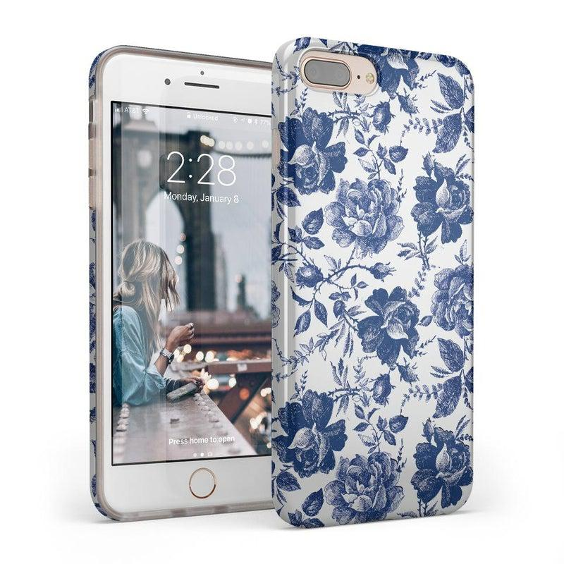 Rose to Fame | Blue & White Rose Case iPhone Case get.casely Classic iPhone 8 Plus