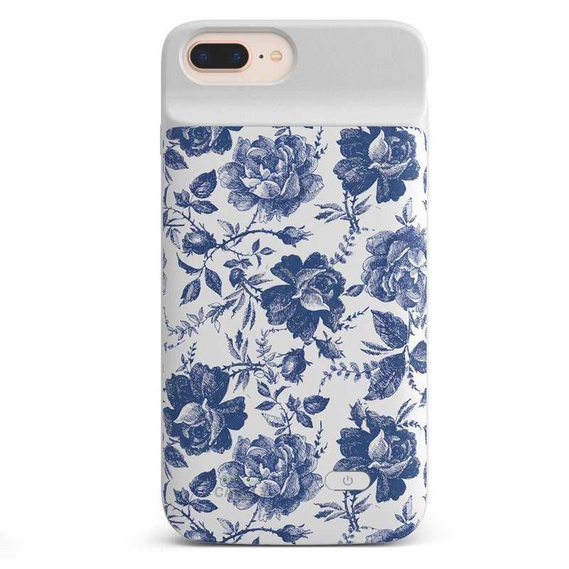 Rose to Fame | Blue & White Rose Case iPhone Case get.casely Power 2.0 iPhone 8 Plus