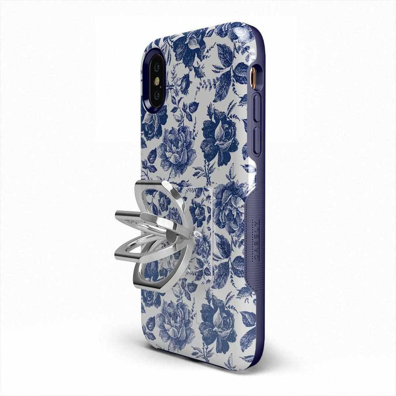 Rose to Fame | Blue & White Rose Phone Ring Phone Ring Get.Casely