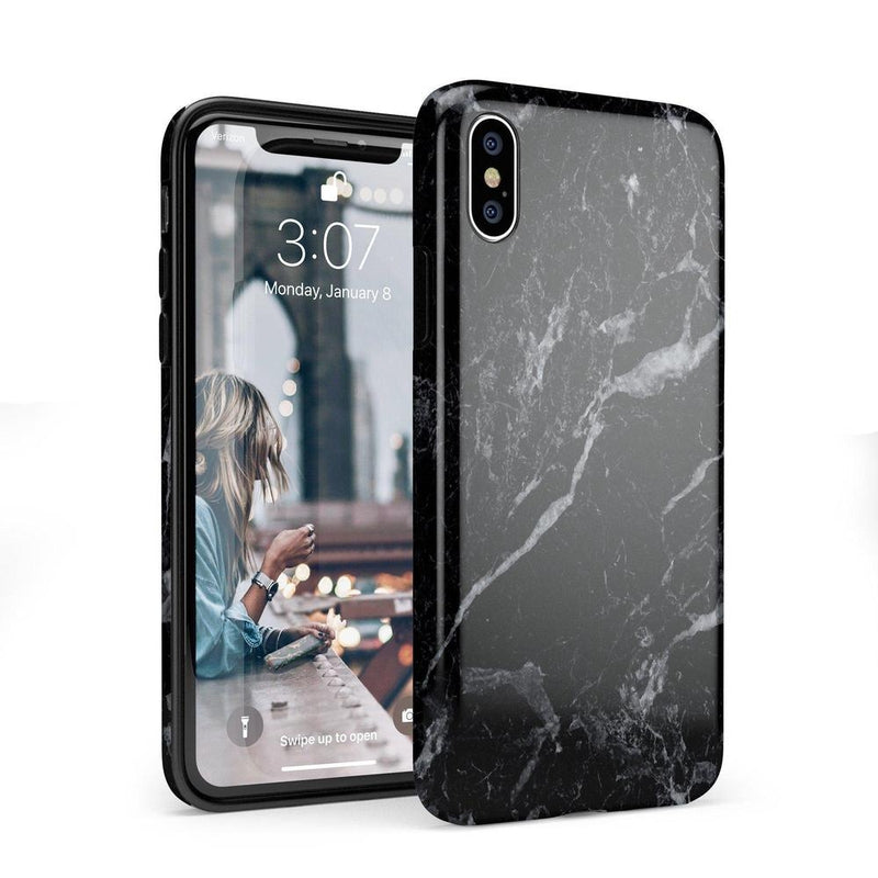Sleek Black Marble Case iPhone Case Get.Casely Classic iPhone X / XS