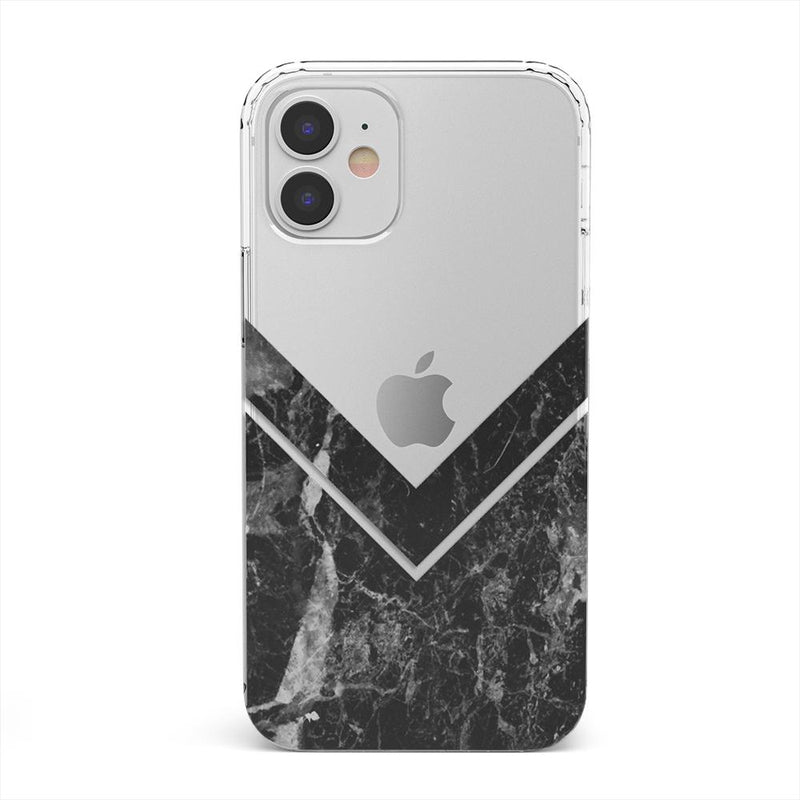 Sleek Black Marble V Clear Case iPhone Case get.casely Classic iPhone 12 Mini