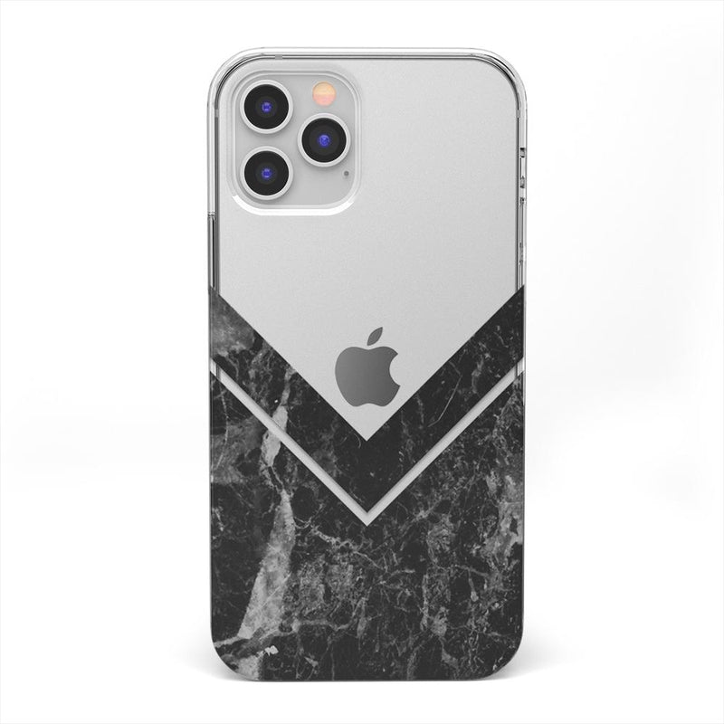 Sleek Black Marble V Clear Case iPhone Case get.casely Classic iPhone 12 Pro