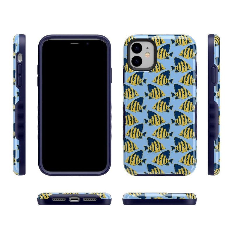 Something's Fishy Navy Blue & Yellow Fish Print Case iPhone Case get.casely