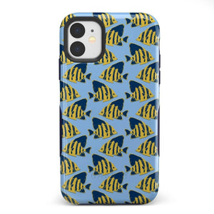 Something's Fishy Navy Blue & Yellow Fish Print Case iPhone Case get.casely Bold iPhone 11