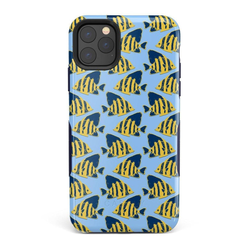Something's Fishy Navy Blue & Yellow Fish Print Case iPhone Case get.casely Bold iPhone 11 Pro