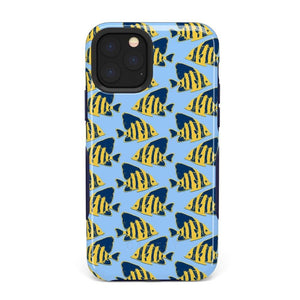 Something's Fishy Navy Blue & Yellow Fish Print Case iPhone Case get.casely Bold iPhone 11 Pro Max