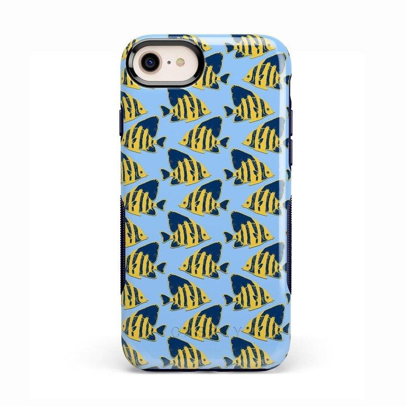 Something's Fishy Navy Blue & Yellow Fish Print Case iPhone Case get.casely Bold iPhone 8
