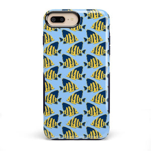 Something's Fishy Navy Blue & Yellow Fish Print Case iPhone Case get.casely Bold iPhone 8 Plus