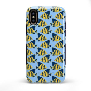 Something's Fishy Navy Blue & Yellow Fish Print Case iPhone Case get.casely Bold iPhone X / XS