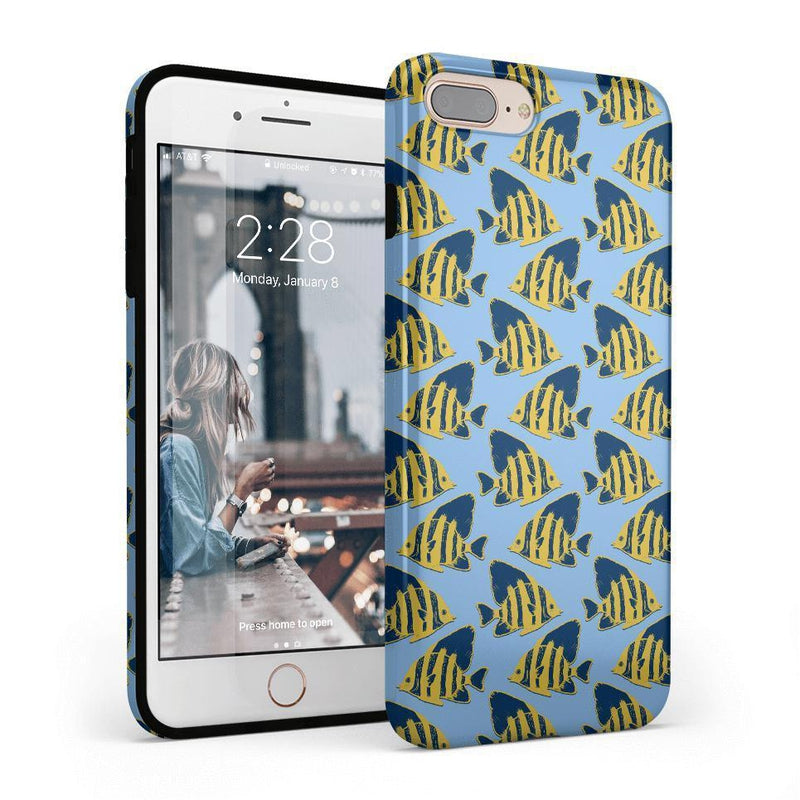 Something's Fishy Navy Blue & Yellow Fish Print Case iPhone Case get.casely Classic iPhone 8 Plus