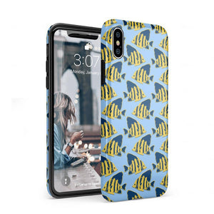 Something's Fishy Navy Blue & Yellow Fish Print Case iPhone Case get.casely Classic iPhone XS Max