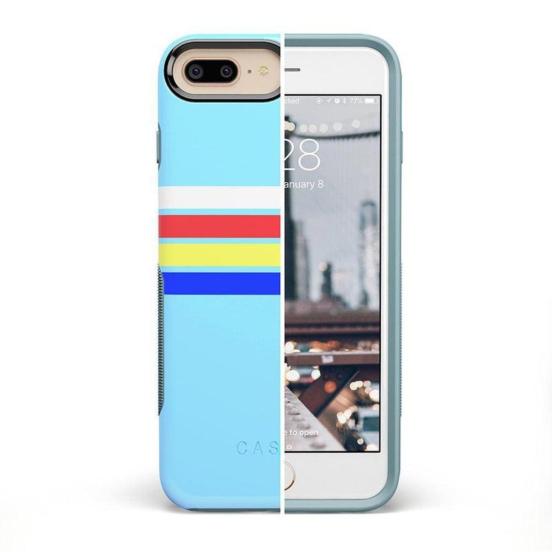 Teal Rainbow Stripes Color Block Case iPhone Case get.casely