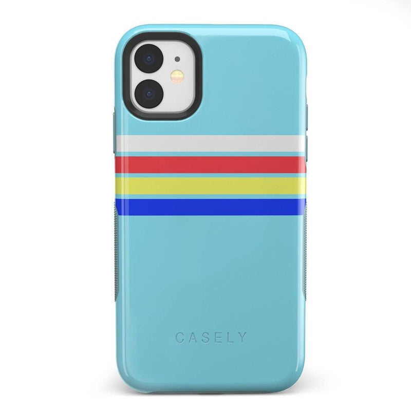 Teal Rainbow Stripes Color Block Case iPhone Case get.casely Bold iPhone 11