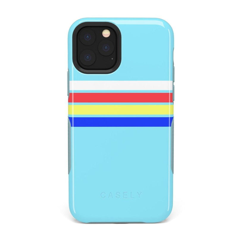 Teal Rainbow Stripes Color Block Case iPhone Case get.casely Bold iPhone 11 Pro