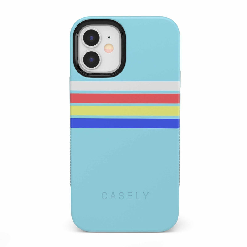 Teal Rainbow Stripes Color Block Case iPhone Case get.casely Bold iPhone 12 Mini