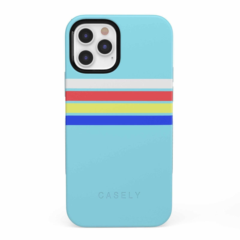Teal Rainbow Stripes Color Block Case iPhone Case get.casely Bold iPhone 12 Pro