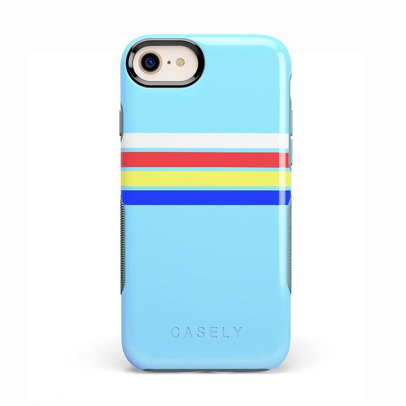Teal Rainbow Stripes Color Block Case iPhone Case get.casely Bold iPhone 8