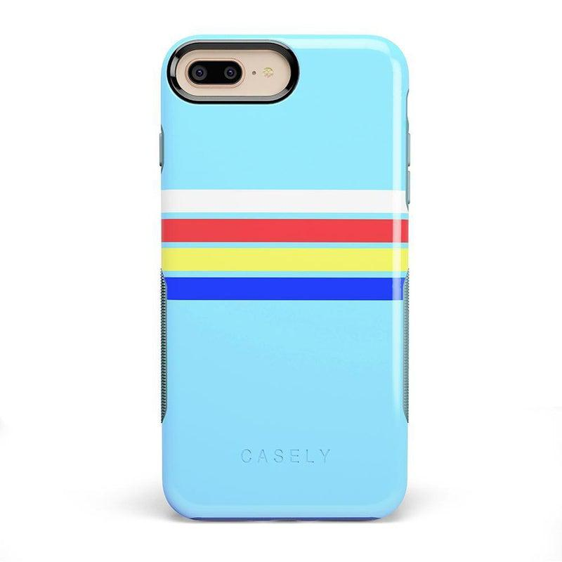 Teal Rainbow Stripes Color Block Case iPhone Case get.casely Bold iPhone 8 Plus