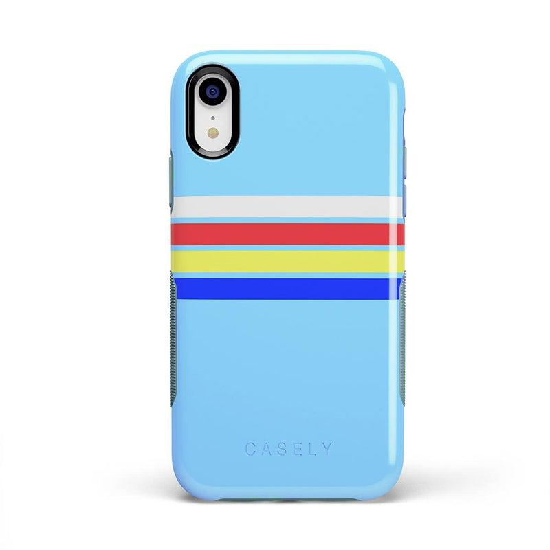 Teal Rainbow Stripes Color Block Case iPhone Case get.casely Bold iPhone XR