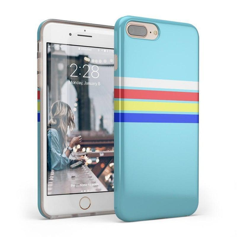 Teal Rainbow Stripes Color Block Case iPhone Case get.casely Classic iPhone 8 Plus