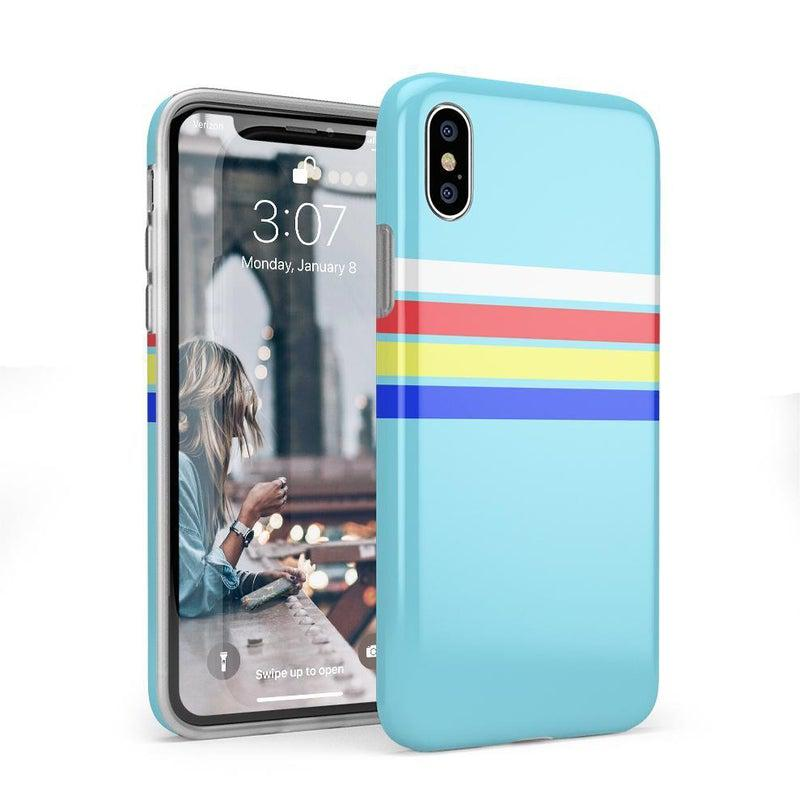 Teal Rainbow Stripes Color Block Case iPhone Case get.casely Classic iPhone X / XS