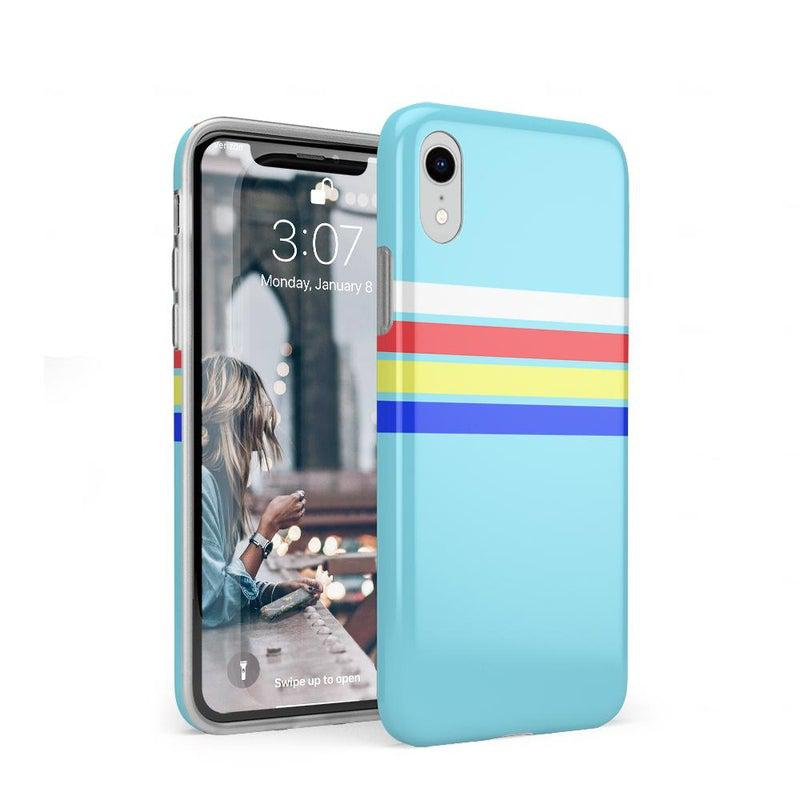 Teal Rainbow Stripes Color Block Case iPhone Case get.casely Classic iPhone XR