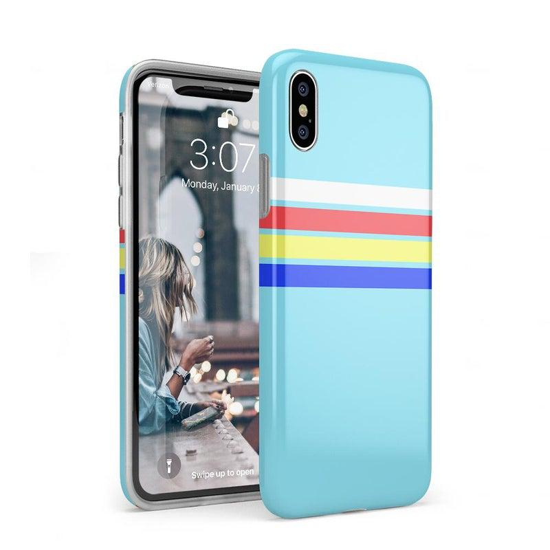 Teal Rainbow Stripes Color Block Case iPhone Case get.casely Classic iPhone XS Max