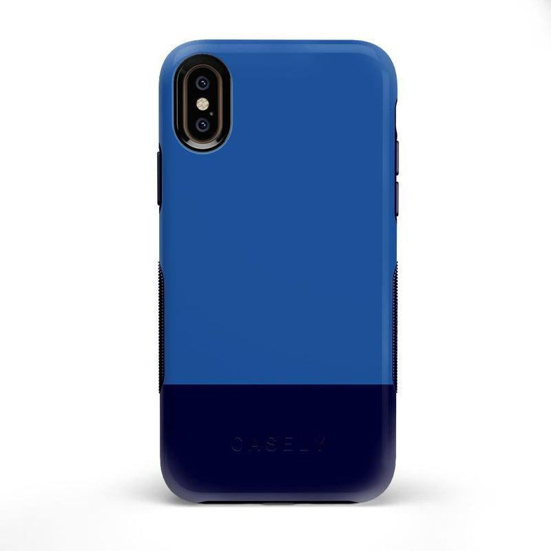 The Bold Collection - Blue & Navy Color Block on Navy iPhone Case get.casely Bold iPhone X / XS
