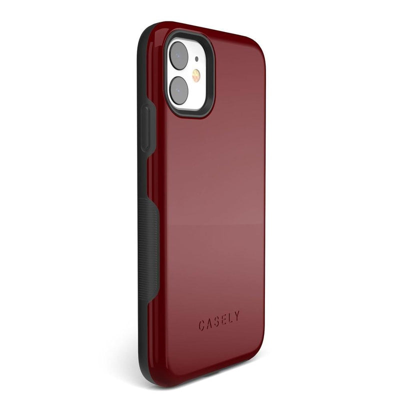 The Bold Collection - Burgundy Red on Black iPhone Case get.casely