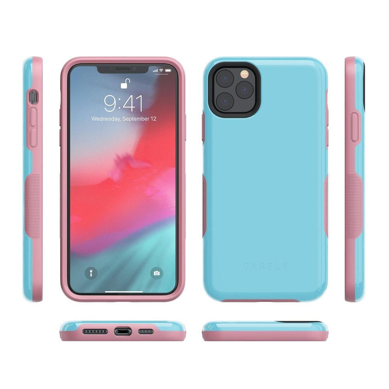 The Bold Collection - Cotton Candy Electric Blue on Pink iPhone Case get.casely