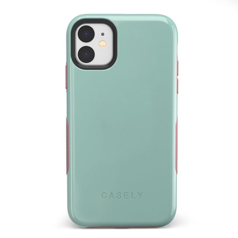 The Bold Collection - Mint Green on Pink iPhone Case get.casely Bold iPhone 11