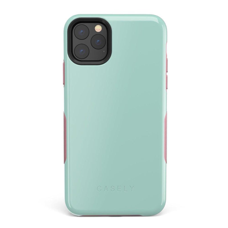 The Bold Collection - Mint Green on Pink iPhone Case get.casely Bold iPhone 11 Pro