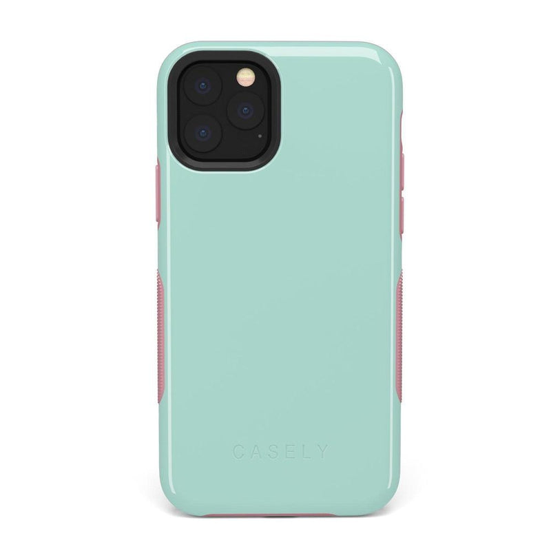 The Bold Collection - Mint Green on Pink iPhone Case get.casely Bold iPhone 11 Pro Max