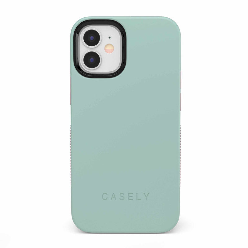 The Bold Collection - Mint Green on Pink iPhone Case get.casely Bold iPhone 12 Mini