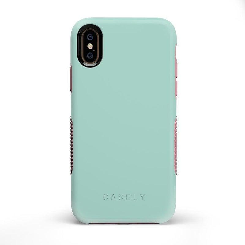 The Bold Collection - Mint Green on Pink iPhone Case get.casely Bold iPhone X / XS