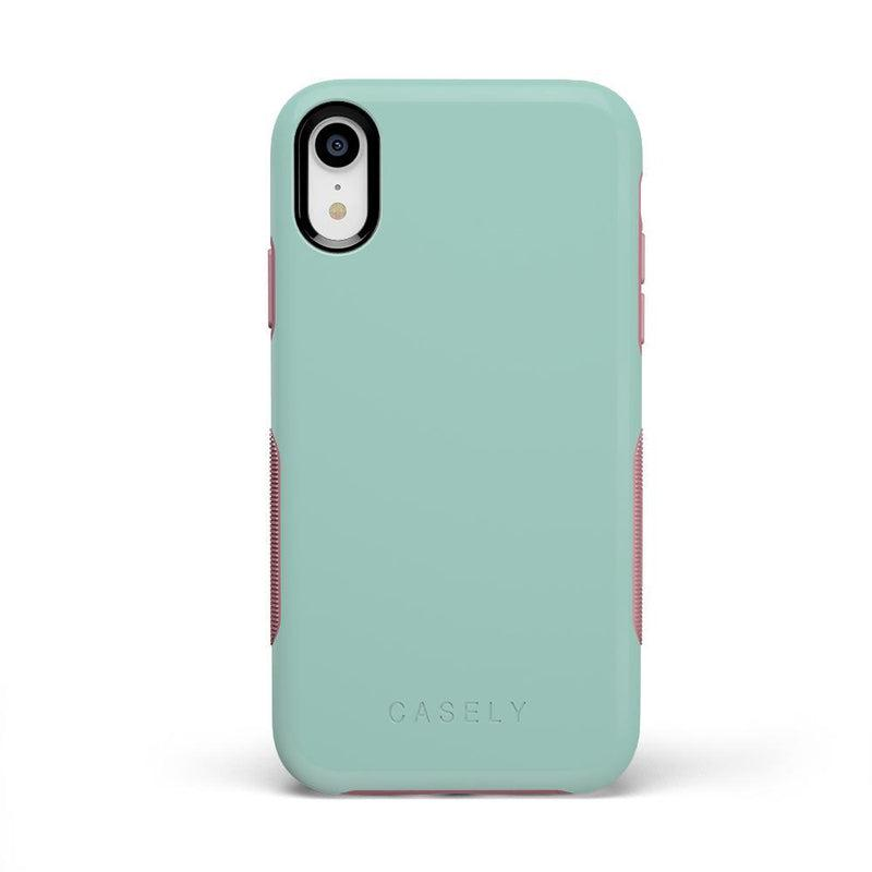The Bold Collection - Mint Green on Pink iPhone Case get.casely Bold iPhone XR