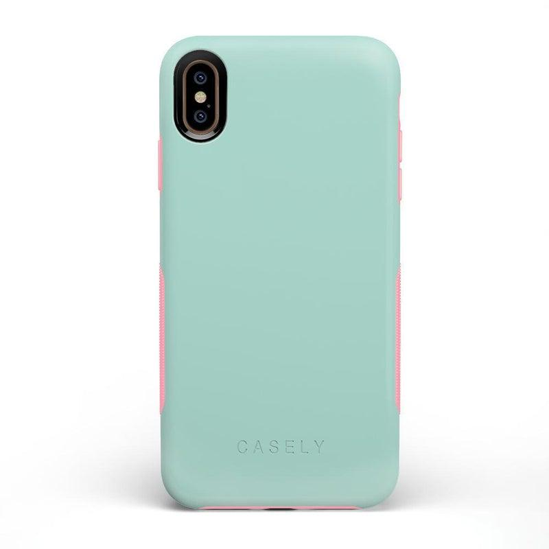 The Bold Collection - Mint Green on Pink iPhone Case get.casely Bold iPhone XS Max