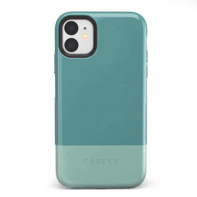 The Bold Collection - Teal Color Block on Aqua Mint iPhone Case get.casely Bold iPhone 11