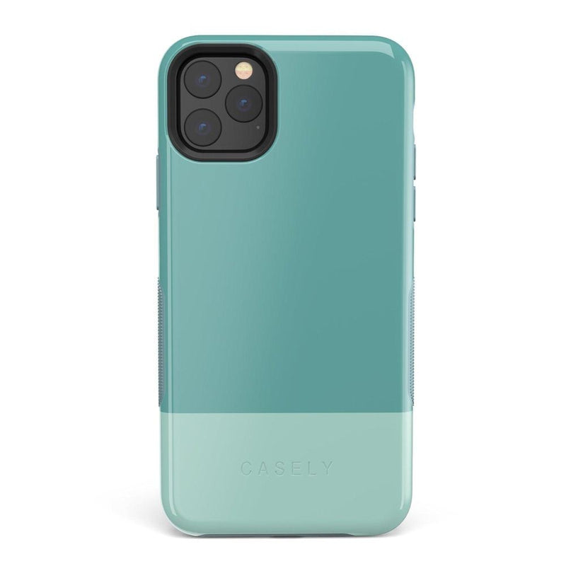The Bold Collection - Teal Color Block on Aqua Mint iPhone Case get.casely Bold iPhone 11 Pro